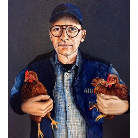 Portræt af Peter Birch Akryl på lærred 60 x 60 privateje