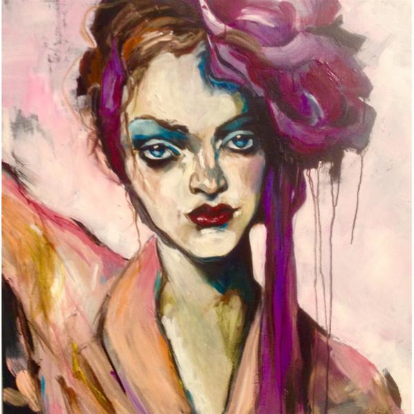 """""""Femme fatale"""" Akryl på lærred 80 x 80"""