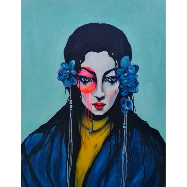 Japanese Bride - 80 x 100 cm - Akryl på lærred